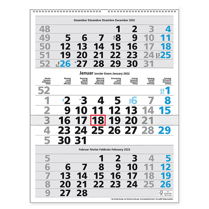 Monthly / multi-monthly calendar