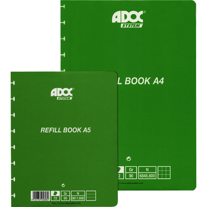 Adoc Spiral booklet Pap-ex Spare sheets A5, 5 mm cross-ruled