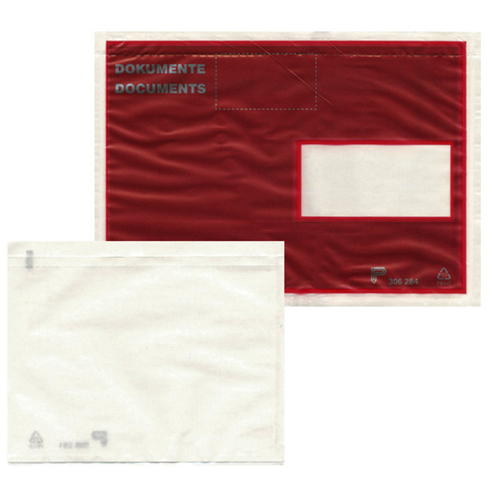 office focus Envelopes Dokufix C6/5 (120 x 235 mm), red, window on left