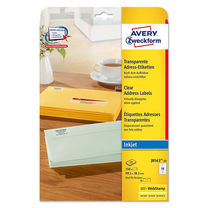 Avery Zweckform Ink jet labels transparent