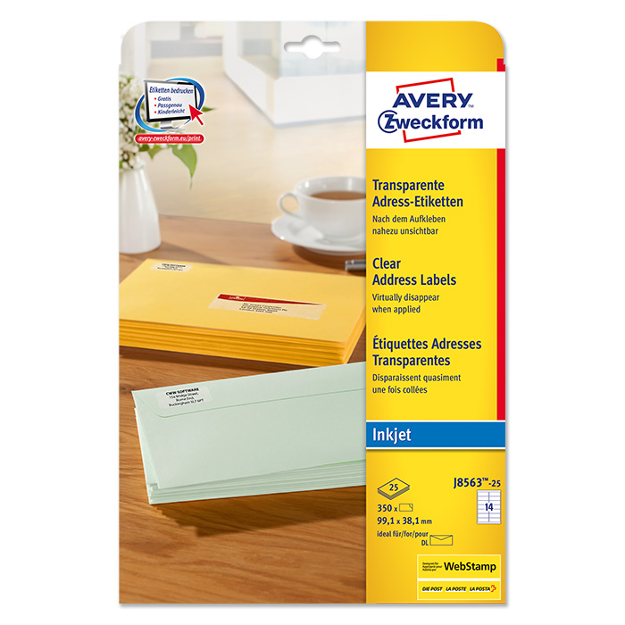 Avery Zweckform InkJet-Etiketten transparent
