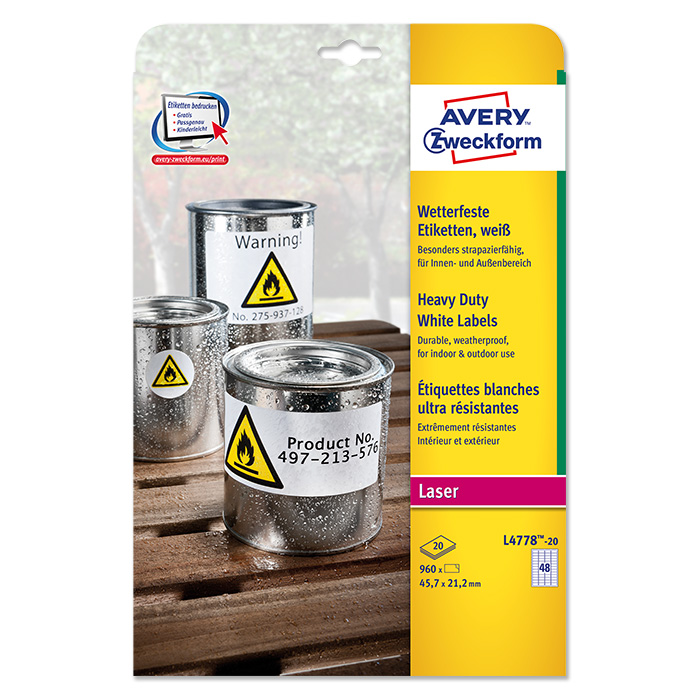 Avery Zweckform Laser labels waterproof
