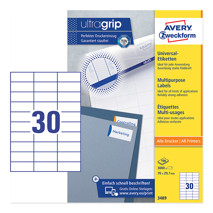 Avery Zweckform Universal-Etiketten ultragrip, 100 Blt