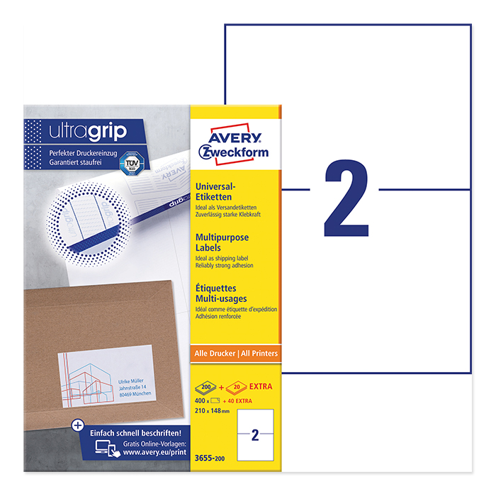 Avery Zweckform Universal-Etiketten ultragrip, 220 Blatt 210,0 x 148,0 mm
