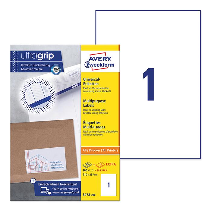 Avery Zweckform Universal-Etiketten ultragrip, 220 Blatt 210 x 297 mm
