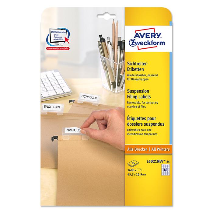 Avery Zweckform Universal-Etiketten wiederablösbar, weiss