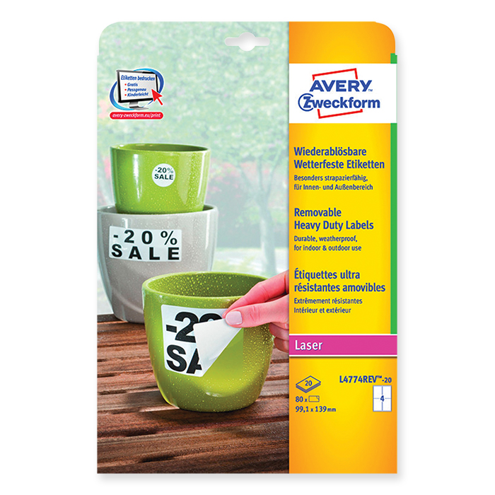 Avery Zweckform laser labels, weather-resistant and removable