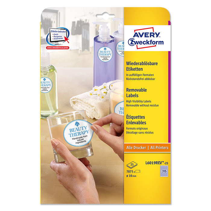 Avery Zweckform multipurpose Repositionable labels, white