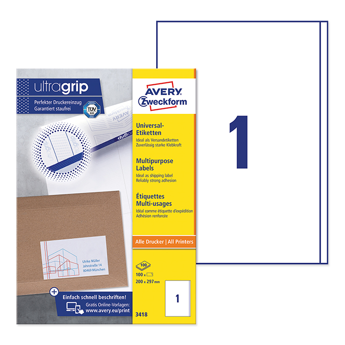 Avery Zweckform multipurpose labels white, 100 sheets 200.0 x 297.0 mm