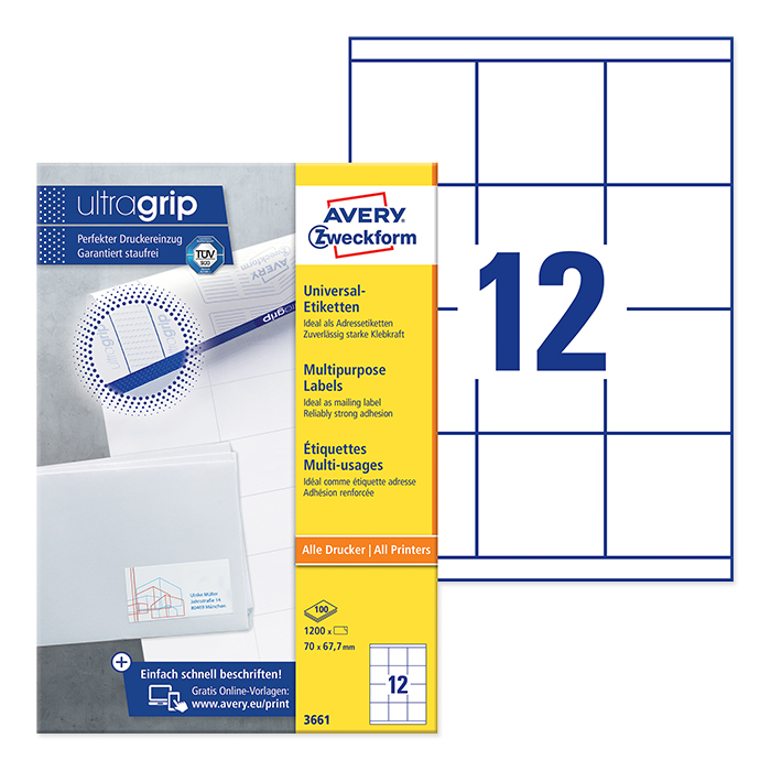 Avery Zweckform multipurpose labels white, 100 sheets 70.0 x 67.7 mm