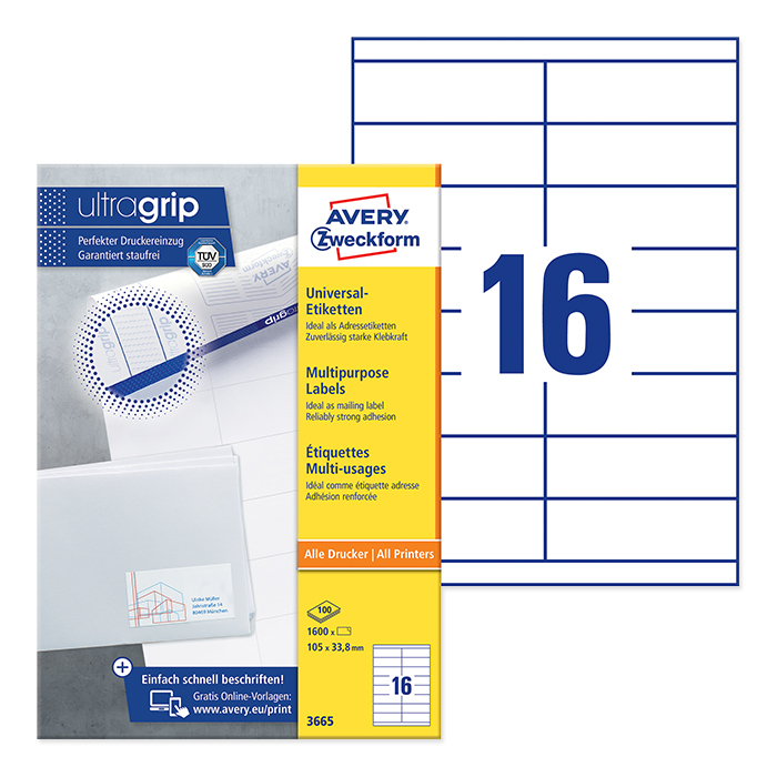Avery Zweckform multipurpose labels white, 100 sheets 105.0 x 33.8 mm