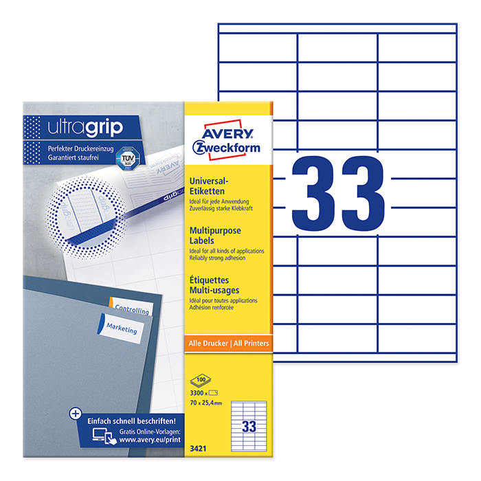 Avery Zweckform multipurpose labels white, 100 sheets 70.0 x 25.4 mm