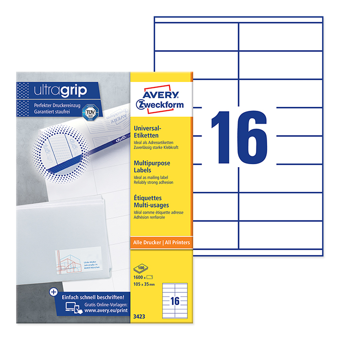 Avery Zweckform multipurpose labels white, 100 sheets 105.0 x 35.0 mm