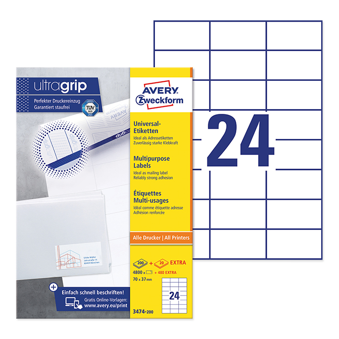 Avery Zweckform multipurpose labels white, 200 sheets 70.0 x 37.0 mm
