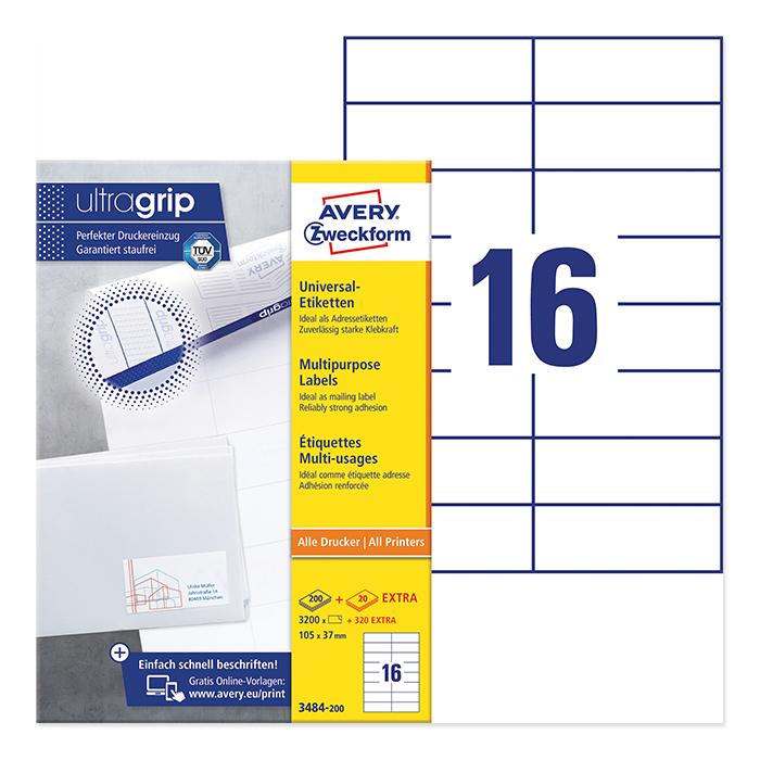 Avery Zweckform multipurpose labels ultragrip 105 x 37 mm