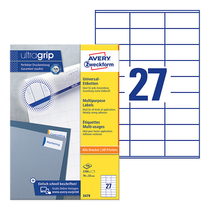 Avery Zweckform multipurpose labels white, 100 sheets 70.0 x 32.0 mm