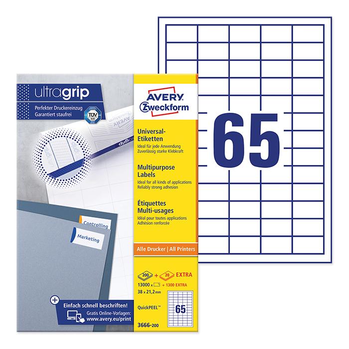 Avery Zweckform multipurpose labels ultragrip 38 x 21,2 mm