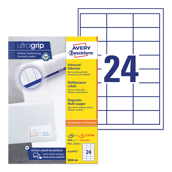 Avery Zweckform multipurpose labels white, 200 sheets 64,6 x 33,8 mm, QuickPeel