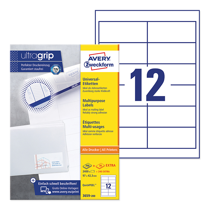 Avery Zweckform multipurpose labels white, 200 sheets 97.0 x 42.3 mm, QuickPeel, Webstamp