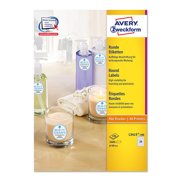 Avery Zweckform multipurpose labels white, 100 sheets 40 mm Ø