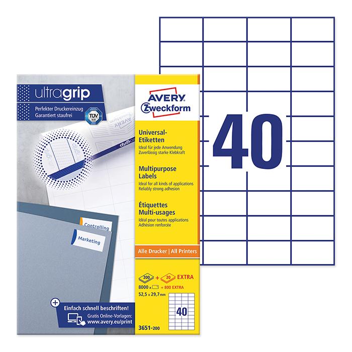 Avery Zweckform multipurpose labels ultragrip 52,5 x 29,7 mm