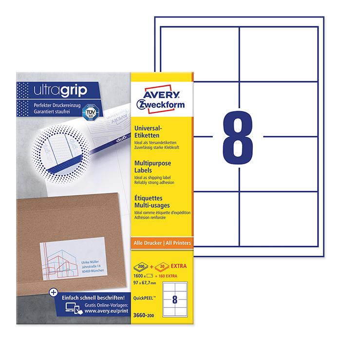 Avery Zweckform multipurpose labels ultragrip 97 x 67,7 mm
