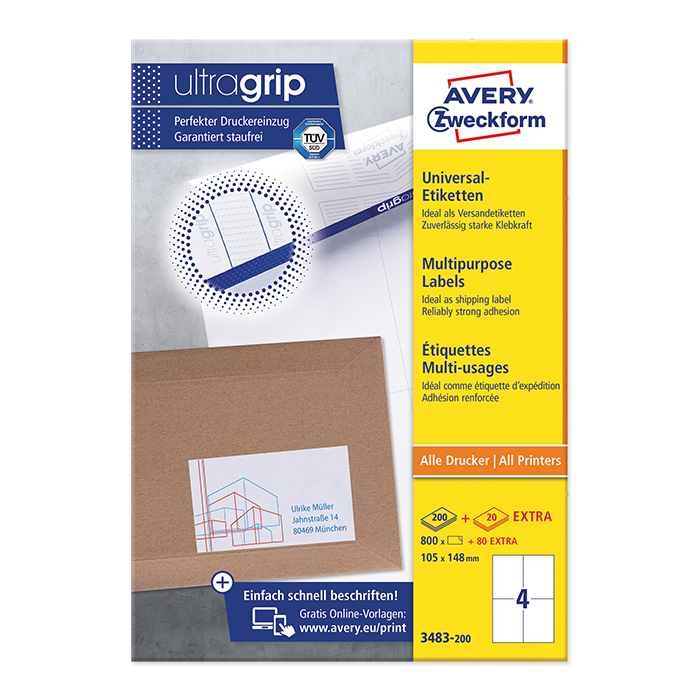 Avery Zweckform multipurpose labels white, 200 sheets 105.0 x 148.0 mm