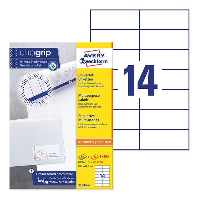 Avery Zweckform multipurpose labels ultragrip 105 x 42,3 mm