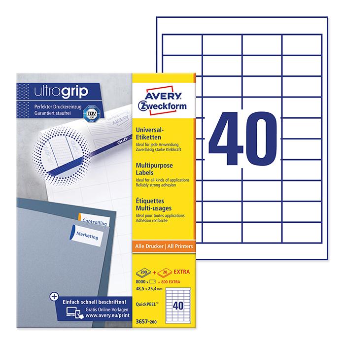 Avery Zweckform multipurpose labels ultragrip 48,5 x 25,4 mm