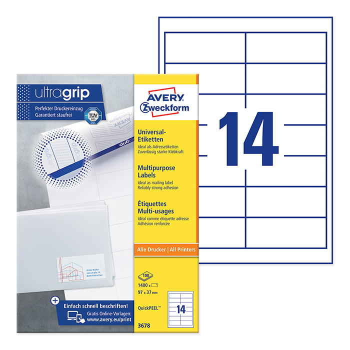 Avery Zweckform multipurpose labels white, 100 sheets 97,0 x 37,0 mm, QuickPeel