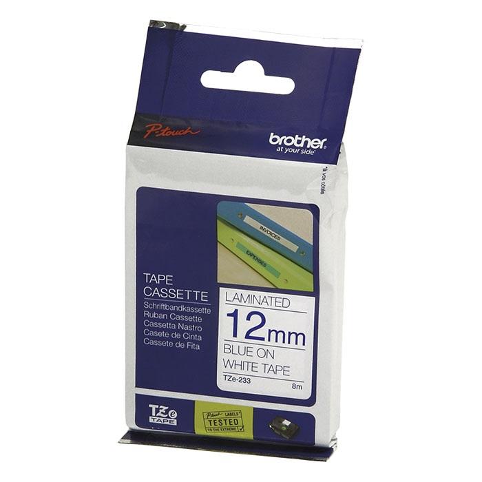 Brother P-Touch Schriftbänder TZe, laminiert, 12 mm Band blau, Schrift schwarz