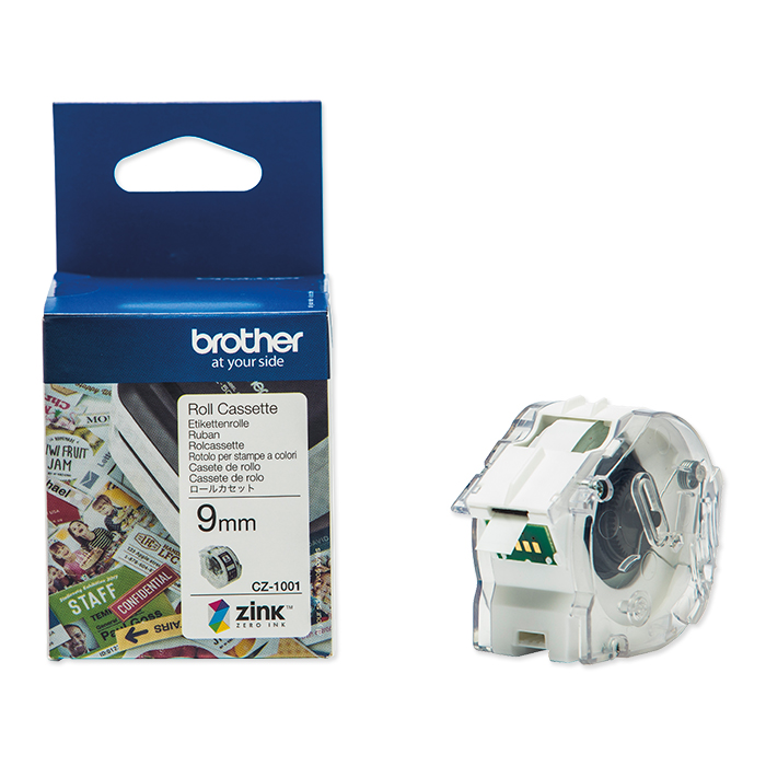 Brother Etiketten zu Labelprinter VC-500W Colour Paper Tape CZ-1001,  9 mm x 5 m