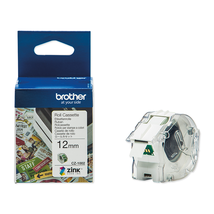 Brother Etiketten zu Labelprinter VC-500W Colour Paper Tape CZ-1002, 12 mm x 5 m