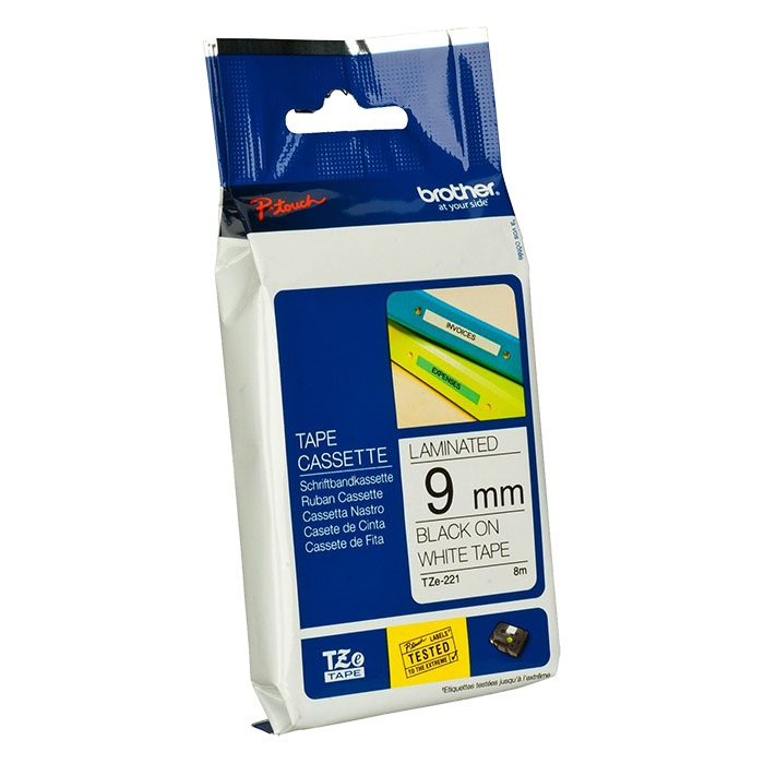 Brother P-Touch Tape Cartridge TZe, laminated, 9 mm White on black tape