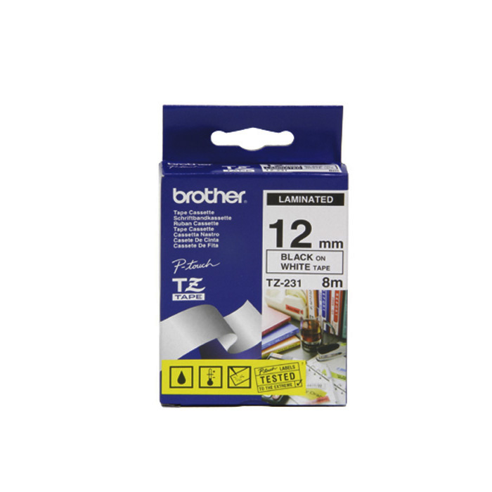 Brother P-Touch Tape Cartridge TZe, laminated, 12 mm Black on white tape