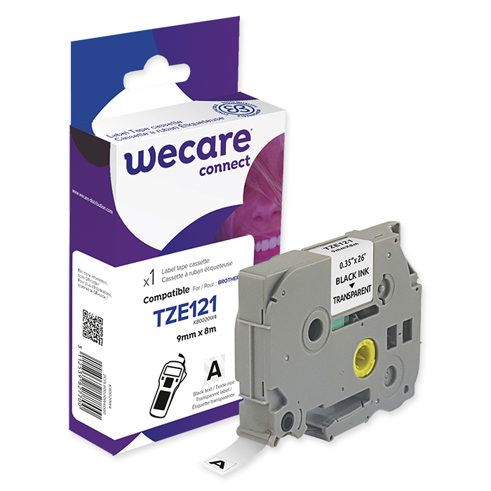 WECARE P-Touch writing tapes 9 mm TZE-121, black on transparent