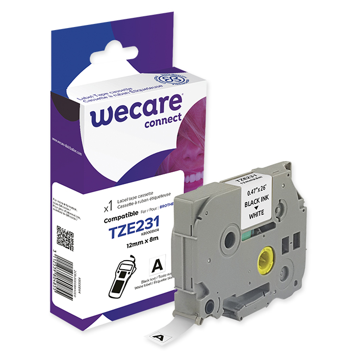 WECARE P-Touch writing tapes 12 mm TZE-231, black on white, 9 m