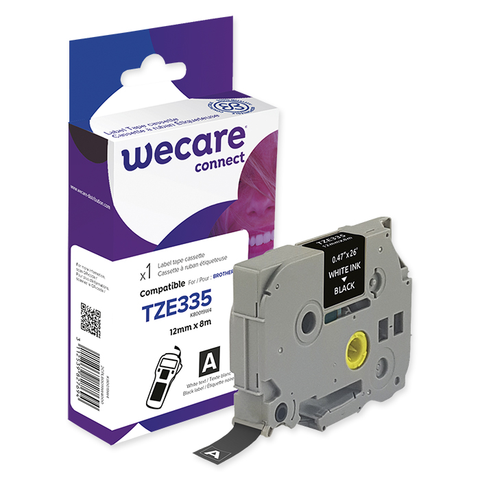 WECARE P-Touch writing tapes 12 mm TZE-335, white on black, 8 m