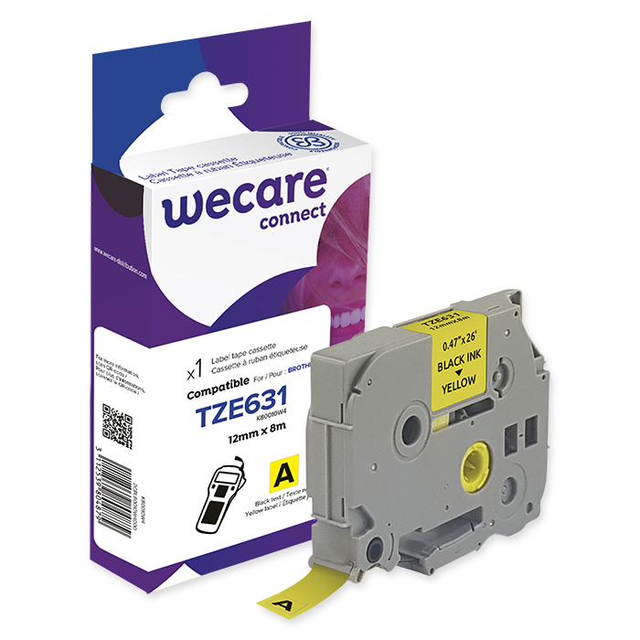 WECARE P-Touch writing tapes 12 mm TZE-631, black on yellow, 11 m
