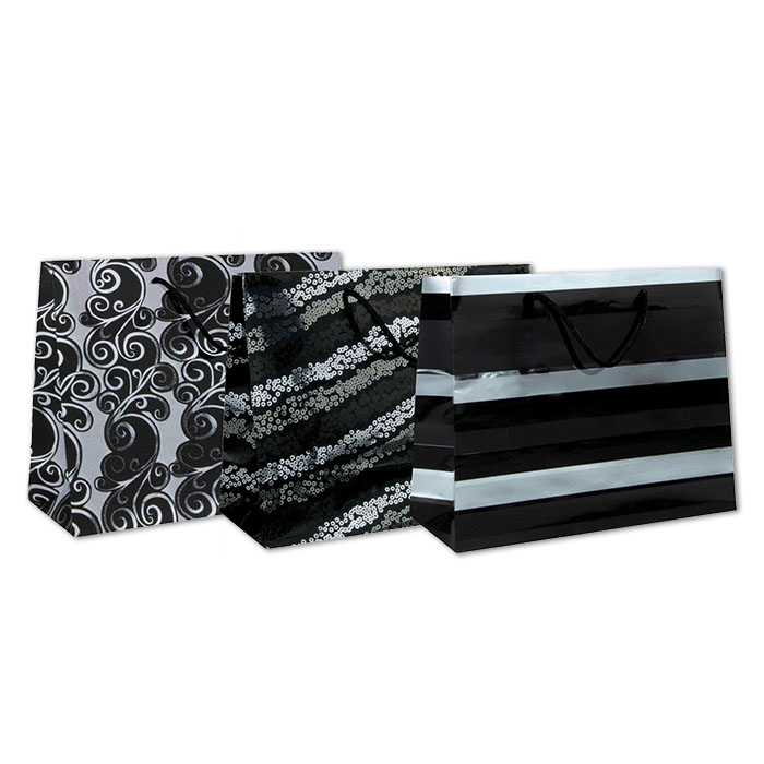 Clairefontaine gift bag, silver / black