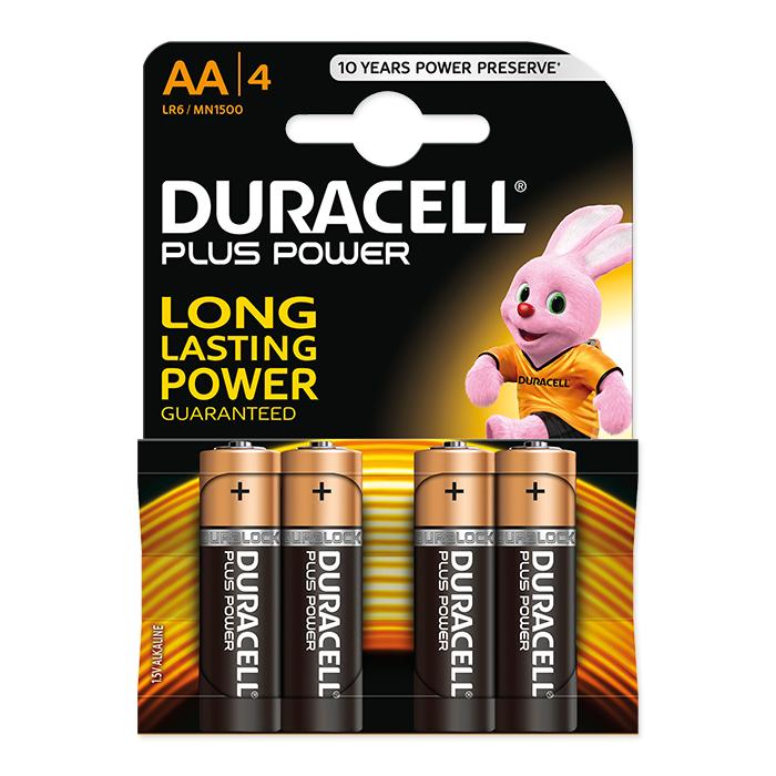 Duracell AA Plus Power 1.5 Volt, 4 pieces