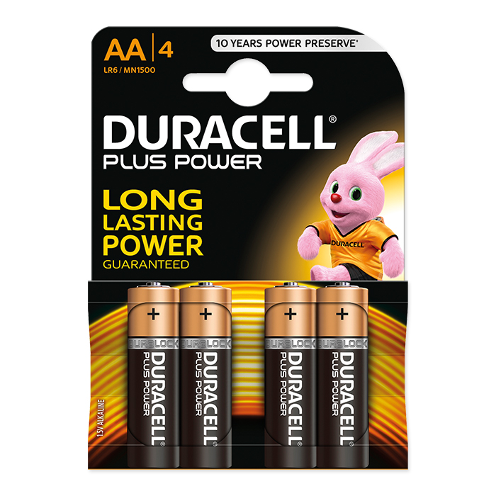 Duracell AA Plus Power 1.5 Volt, 4 pieces