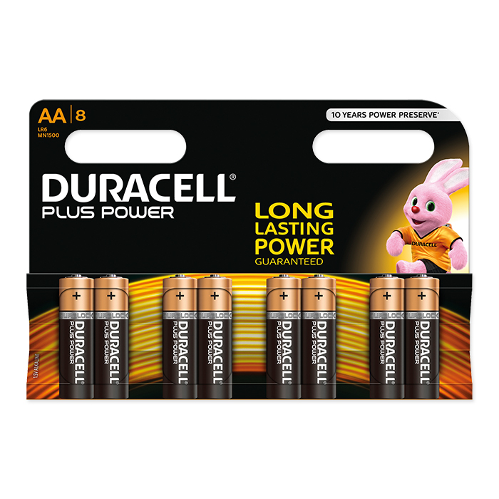 Duracell AA Plus Power 1.5 Volt, 8 pieces