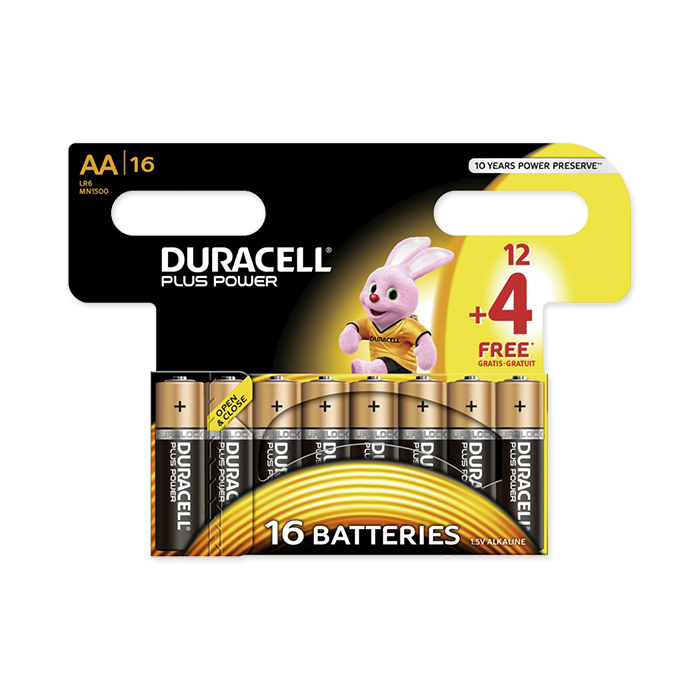 Duracell AA Plus Power 1.5 Volt, 16 pieces