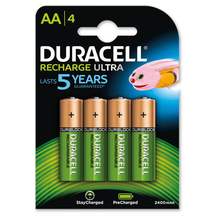 Duracell Rechargeable AA 2500 mAh, 4 pieces