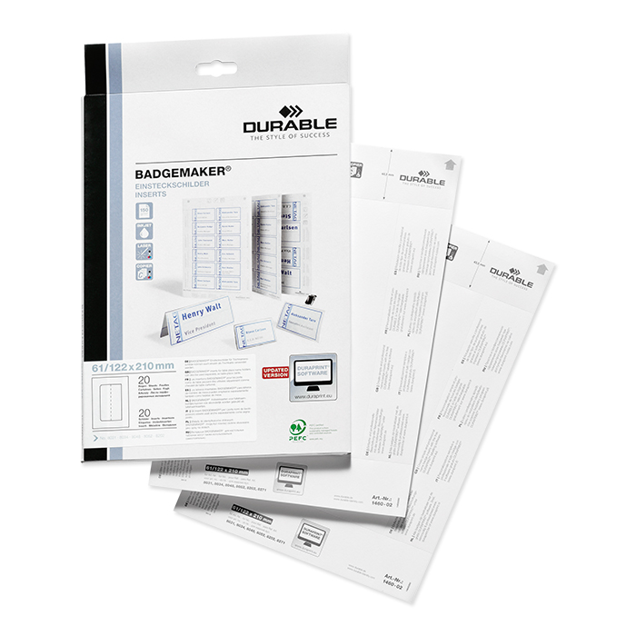 Durable replaceable labels 61/122 x 210 mm
