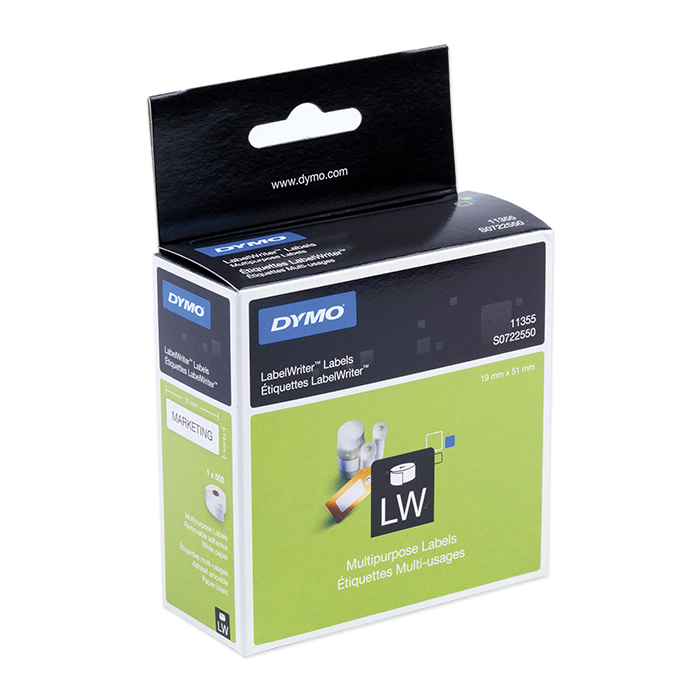 Dymo Labels for label printers Multi-purpose, 19 x 51 mm, white, detachable