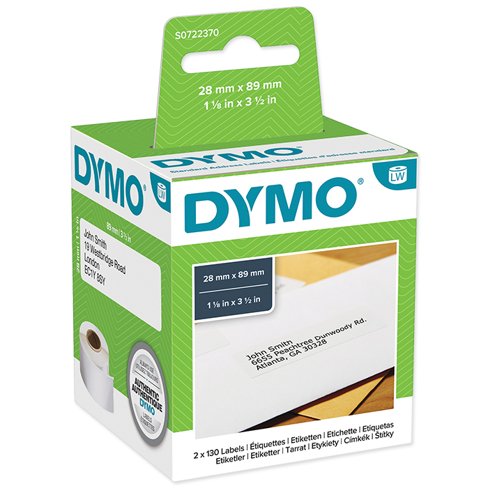 Dymo Labels for label printers Address labels, 89 x 28 mm, white, permanent