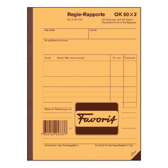 Favorit Administration report book