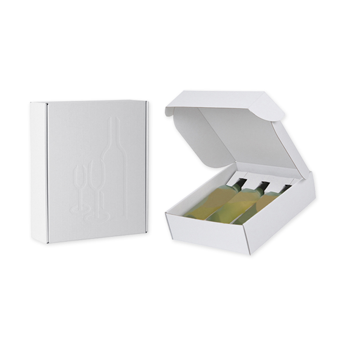 Brieger Gift packaging, open corrugation 346 x 281 x 91 mm, for 3 bottles, white